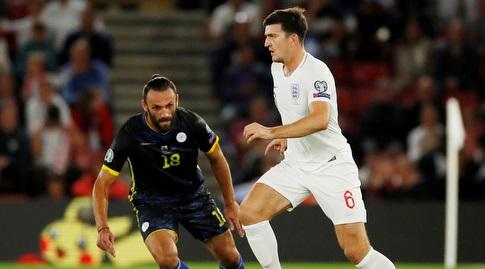 הארי מגווייר במדי נבחרת אנגליה (רויטרס)