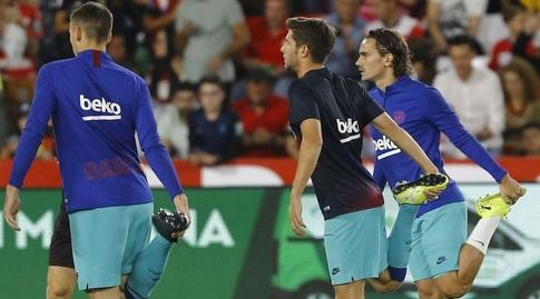 גריזמן, רוברטו ולנגלה בחימום (La Liga)