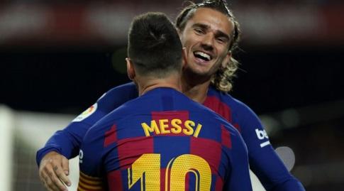 אנטואן גריזמן חוגג עם ליאו מסי (La Liga)