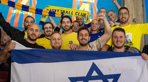 """אוהדי מכבי תל אביב בברצלונה (צילום: אלעד גולדשטיין, מכבי ת""""א)"""