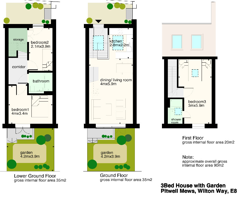 Terraced House Layout 3 Bed Terraced House on Wilton