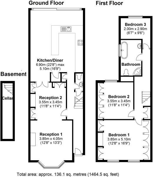 London 5 bed terraced house on hinton road se24 to rent now for 3 p m Victorian kitchen design layout