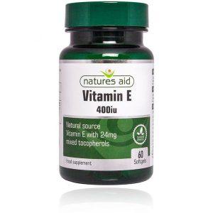 Natures Aid Vitamin E (Natural) 400IU – (60) soft gel capsules