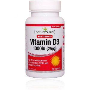 Natures Aid Vitamin D3 1000IU – (90) Tablets