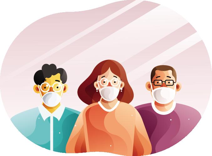people wearing face masks illustration - pharmhealth