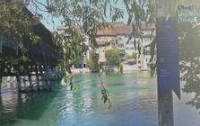 Schweizer Schriftstellerweg an der alten Holzbrücke