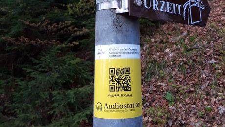 Audiostation mit QR-Code