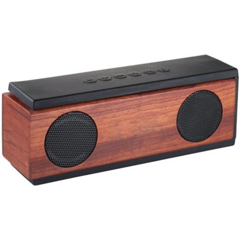 Exklusiv högtalare med logo tillverkad av mörk snygg trä och ABS plast. Högtalare med tryck är en mycket uppskattade profilprodukt till kunder och anställda.