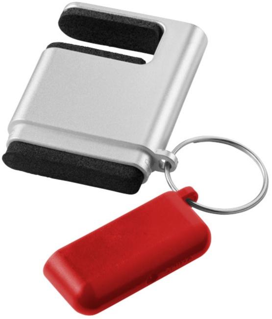 Kombinerad mobilskärmrengörare och smartphonehållare i ett på nyckelring med tryck. Billig nyckelring med reklamtryck, beställ direkt i vår webshop.