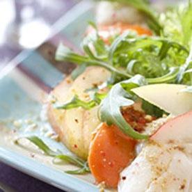 Salade de roquette Saint-Jacques et poires