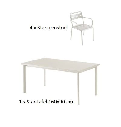 Emu Star set 4 x armstoel 1 x tafel 160x90 cm Matt White