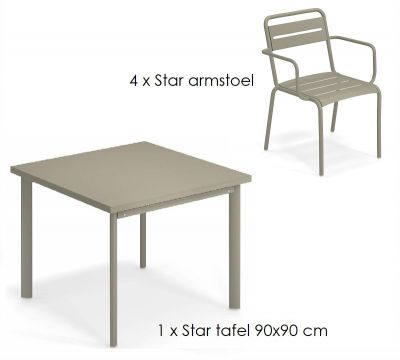Emu Star set 4 x armstoel 1 x tafel 90x90 cm Grey-Green