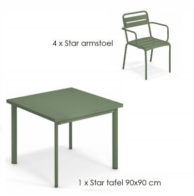 Emu Star set 4 x armstoel 1 x tafel 90x90 cm Military Green
