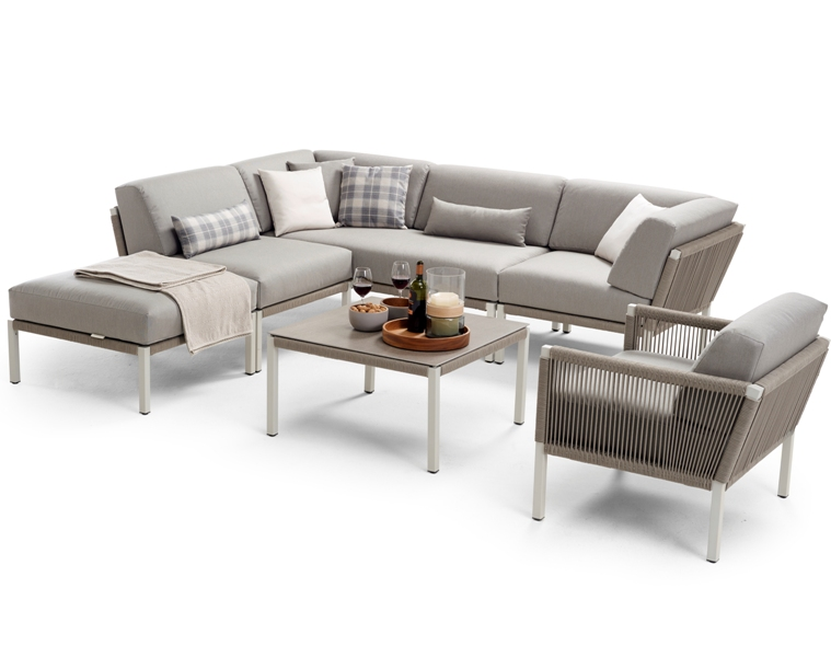 All Weather Kussens : Solpuri club lounge hocker dove taupe all weather kussens