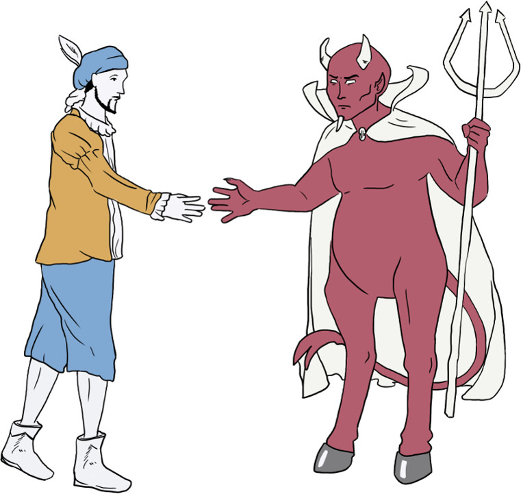Faust schließt einen Pakt mit dem Teufel