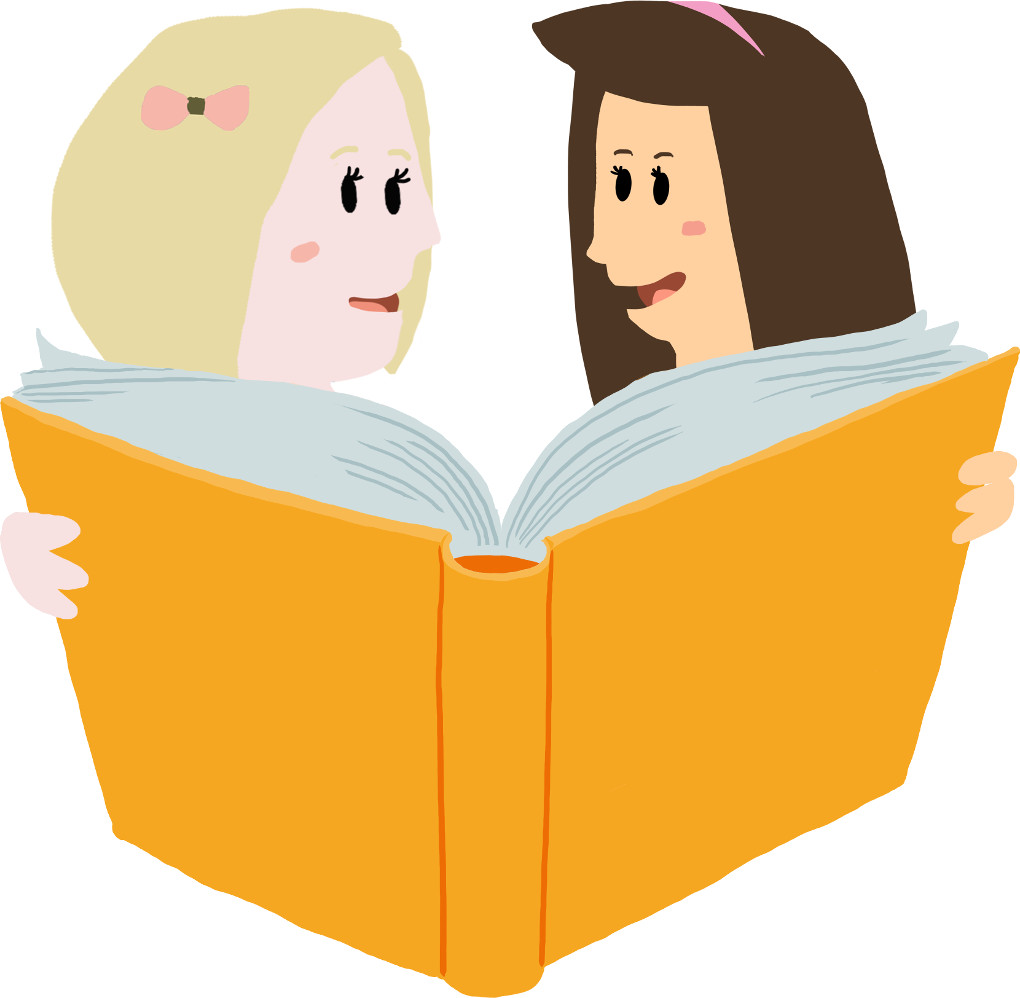 Zwei Mädchen lesen