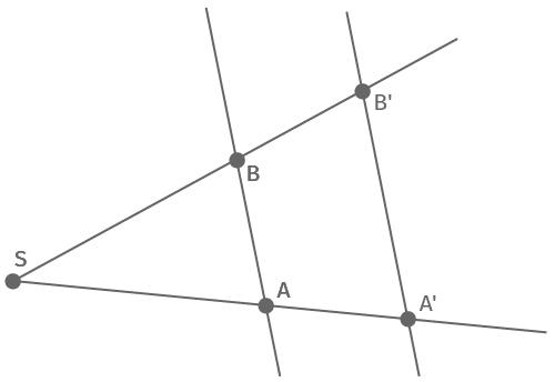 Strahlensatzfigur mit Geraden auf einer Seite des Scheitelpunktes