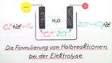 Die Formulierung von Halbreaktionen bei der Elektrolyse