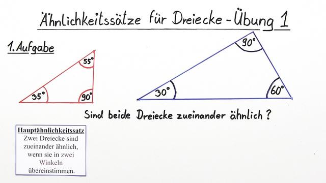 Ähnlichkeitssätze für Dreiecke – Übung (1)