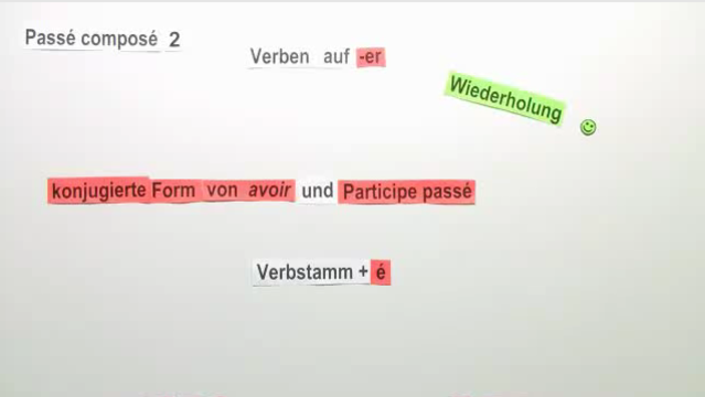"""Passé Composé – regelmäßige Verben mit """"avoir"""" (2)"""