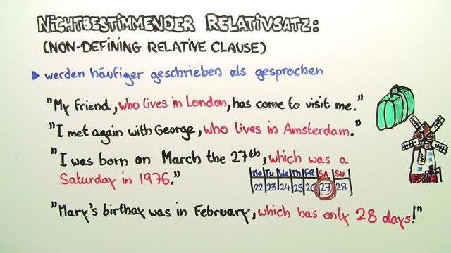 Non-Defining Relative Clauses – nichtbestimmende Relativsätze