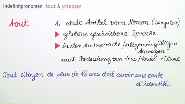 """Wie verwende ich die Indefinitpronomen """"tout"""" und """"chaque""""? (2)"""