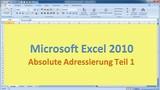 Lektion 09 Excel 2010 Absolute Adressierung Teil 1