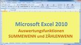 Lektion 24 Excel 2010 Auswertungsfunktionen