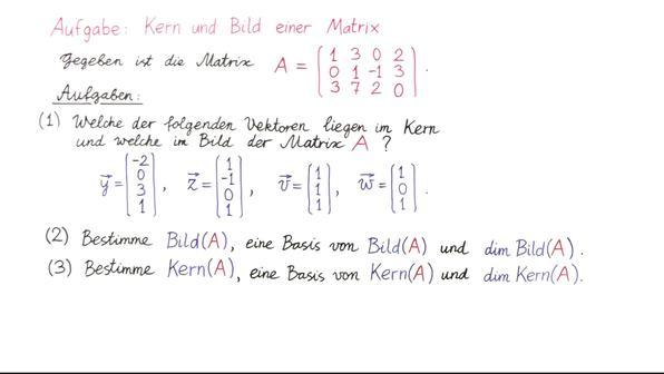 Aufgabe 6   kern und bild einer matrix vorschaubiuld