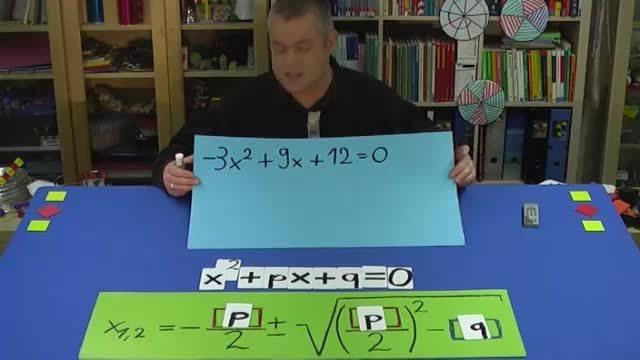 pq-Formel für allgemeine quadratische Gleichung – Aufgabe 1 (1)