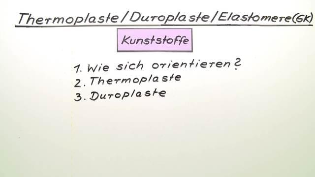 Thermoplaste, Duroplaste, Elastomere (Vertiefungswissen)