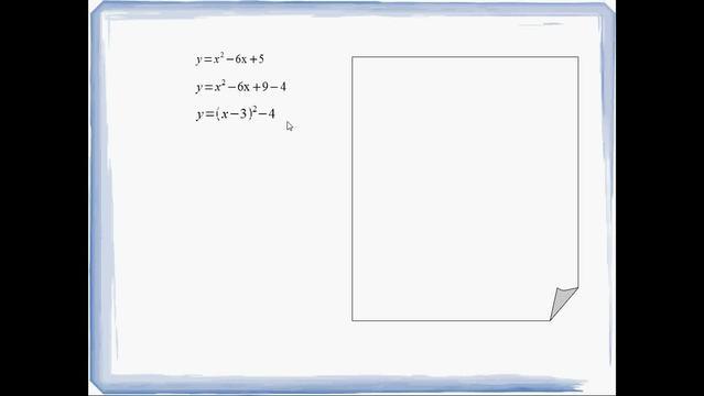 Quadratische Ergänzung – Beispiel y=x²-6x+5
