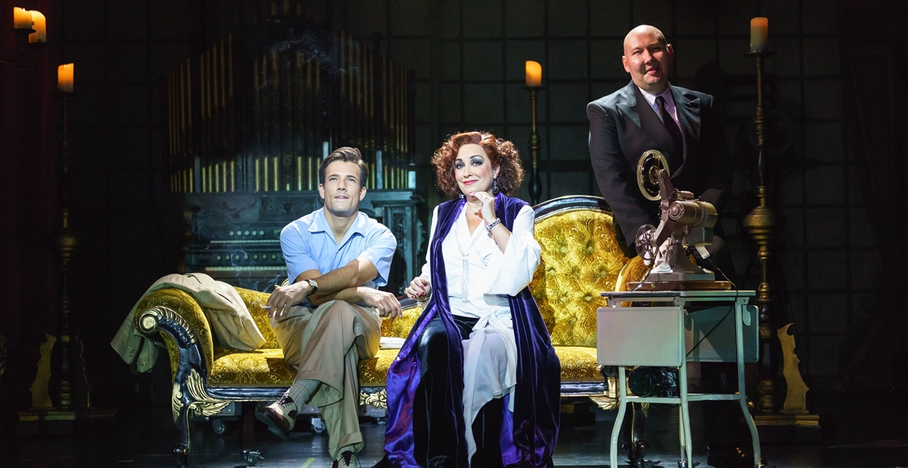 Danny Mac 'Joe Gillis', Ria Jones 'Norma Desmond' and Adam Pearce 'Max Von Meyerling'. Photo by Manuel Harlan