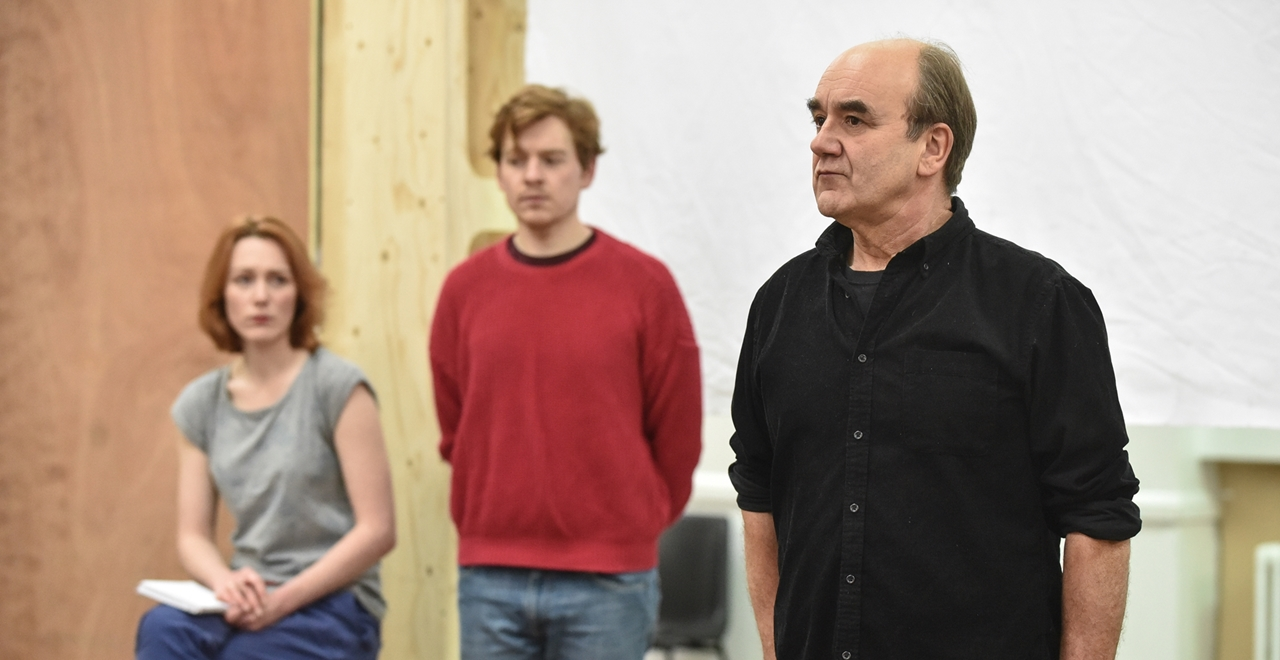 Laura Rogers (Kay Summersby), Robert Heard (Hamilton) and David Haig (Group Captain James Stagg). Photo by Robert Day