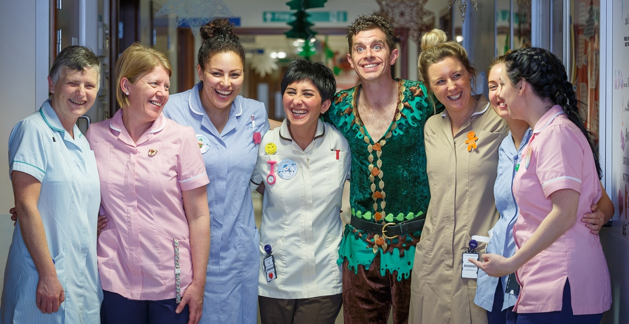 Peter Pan cast visit the Freeman Hospital