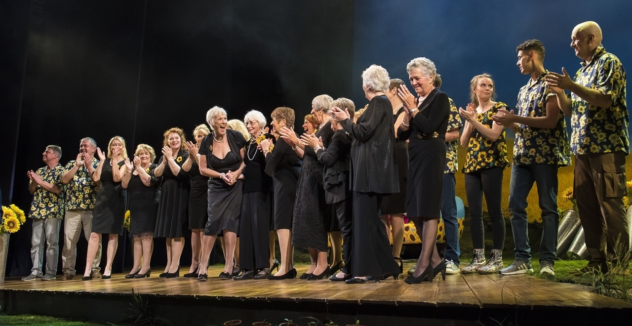 On stage at the Dress Rehearsal with the original Calendar Girls