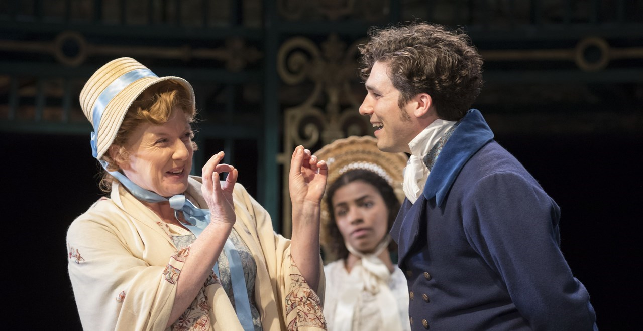 Felicity Montagu and Jordan Mifsud as Mrs Bennet and Mr Bingley.  Photo Johan Persson