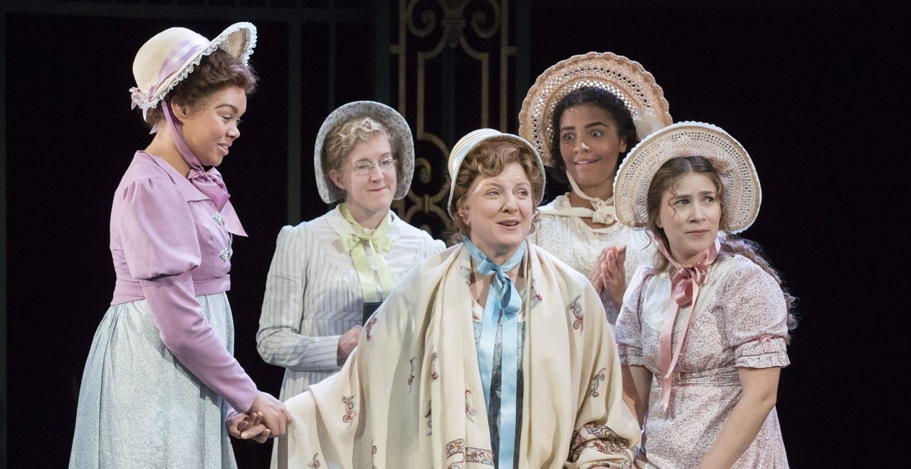 Hollie Edwin, Leigh Quinn, Anna Crichlow, Mari Izzard - Jane, Mary, Kitty & Lydia Bennet with Felicity Montagu as Mrs Bennet.  Photo Johan Persson