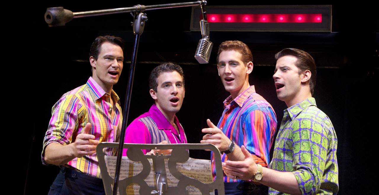 Matt Bogart, Jarrod Spector, Ryan Jesse, Dominic Nolfi. 2010 Broadway Cast. Credit Joan Marcus