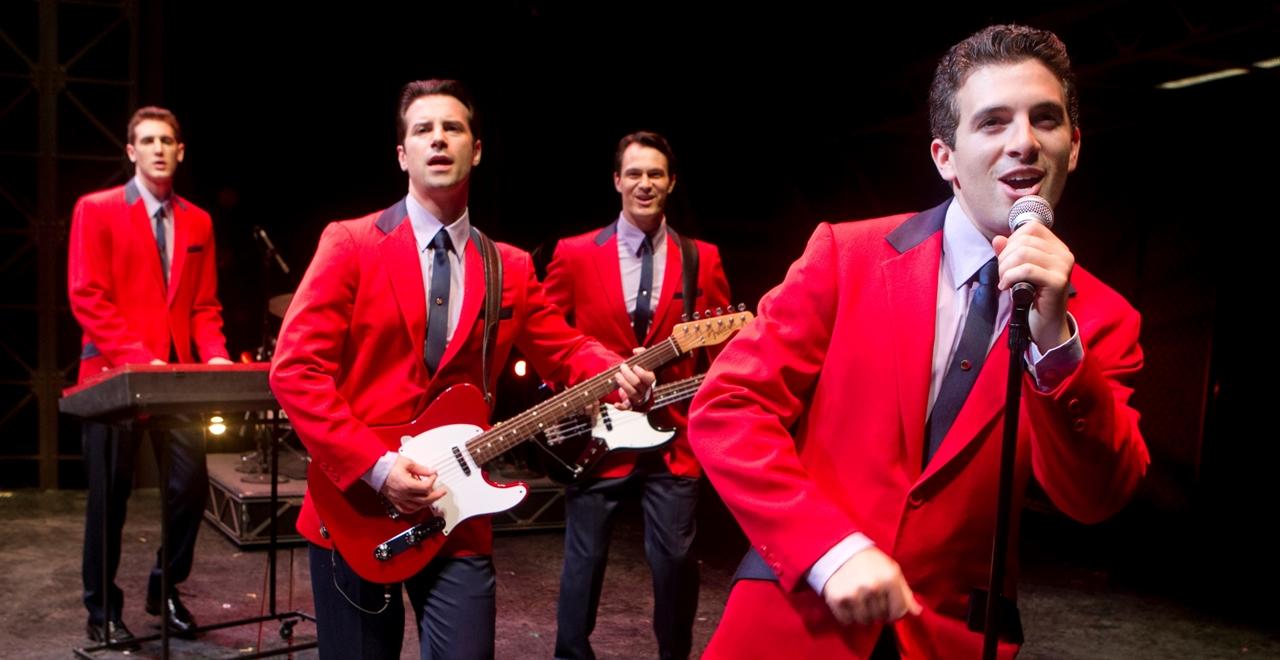 Ryan Jesse, Dominic Nolfi, Matt Bogart, Jarrod Spector. 2010 Broadway Cast. Credit Joan Marcus