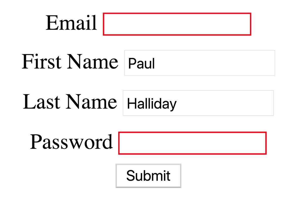 vuejs form validation result