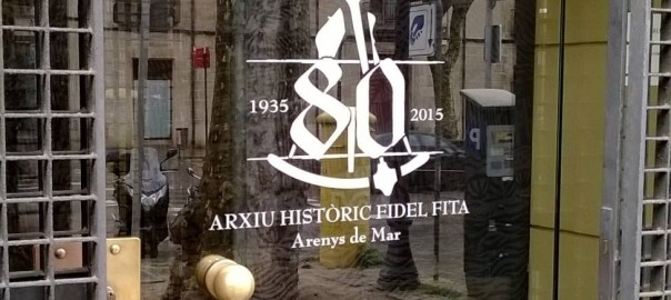 Logotip dels 80 anys de l'Arxiu d'Arenys
