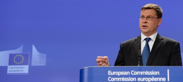 El vice-president de la Comissió Europea per l'Euro i el Diàleg Social, el letó Valdis Dombrovskis.