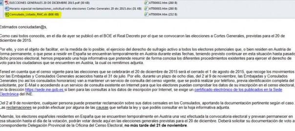 Captura de pantalla del correu que van rebre els ciutadans de l'estat espanyol residents a Àustria. Pintat de color groc, l'arxiu que inclou les dades personals de 4.700 persones.