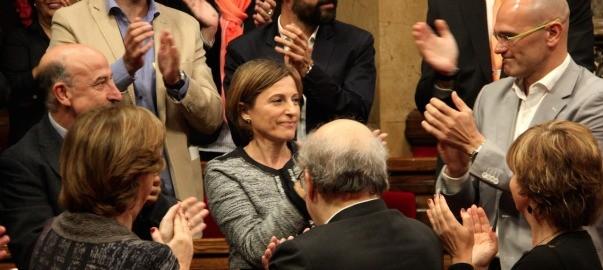 Una imatge d'arxiu de Forcadell, després de ser proclamada presidenta del parlament.