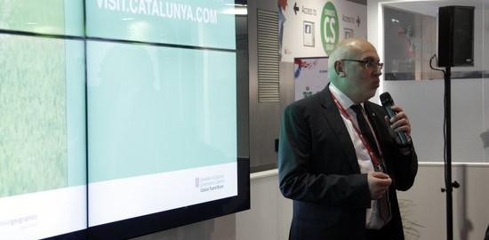 El conseller d'Empresa i Coneixement, Jordi Baiget, durant la presentació de l'aplicació al MWC.