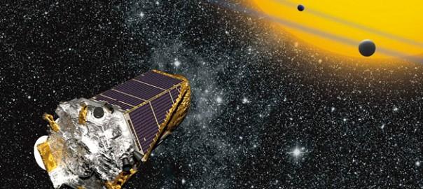 Representació artística del telescopi espacial Kepler observant trànsits planetaris en un estel distant. / NASA