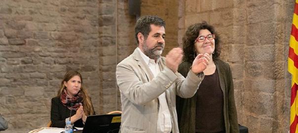 Liz Castro i Jordi Sànchez en el secretariat celebrat a Cardona el 16 de maig (fotografia de Lluís Brunet).
