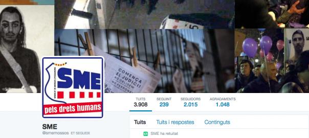 Fotografia de la capçalera del compte de Twitter del Sindicat de Mossos d'Esquadra, després d'haver estat atacat.
