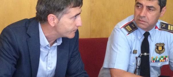 El secretari general del SICME, Jordi Dalmau, i el comissari en cap dels mossos, Josep Lluís Trapero.